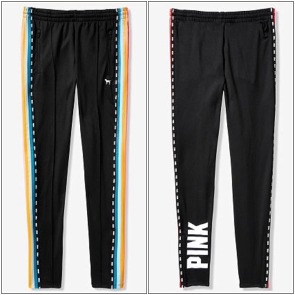 Size victoria secret Pink Rainbow Track Pants In Black SMALL